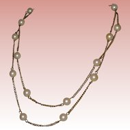 """Sarah Coventry 1960's Gold-tone Chain Necklace with Costume Pearls - 36"""" Signed"""