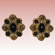 "Vintage ""1928"" Etruscan Style Gold-tone Earrings with Black Enamel"