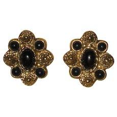 "Vintage ""1928"" Etruscan Style Gold-tone Earrings with Black Enamel"