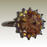 Amber and Aurora Borealis Rhinestone Costume Jewelry Ring - Size 9