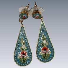 Long Teardrop Turquoise Colored Italian Micro Mosaic Earring - Early to Mid 1900's