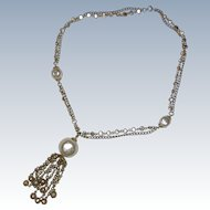 1950's Faux Pearl and Gold-tone Chain Tassel Necklace