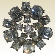 Brilliant 1940's Rhinestone Pin with Large Foil Backed Stones