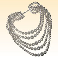 1950's Five Strand Graduated Imitation Pearl Necklace