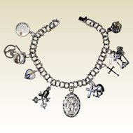 All Sterling Religious Catholic Charm Bracelet with Fifteen Charms, Some Enameled - 7 1/4""