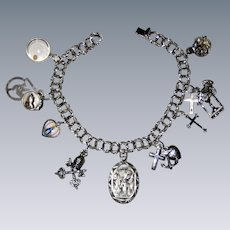 """All Sterling Religious Catholic Charm Bracelet with Fifteen Charms, Some Enameled - 7 1/4"""""""