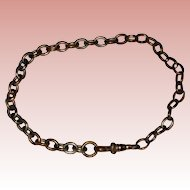 """Brass Charm Bracelet Made from Old Watch Fob Chain - 8"""""""