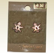 1970's Sunrise Copper Earrings with Native American Bird or Eagle Man - Unused,Original Card