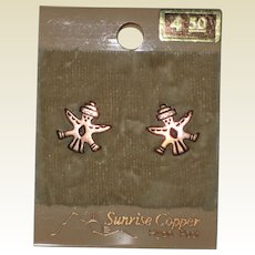 1970's Sunrise Copper Earrings with Native American Bird or Eagle Man - Unused,Original Card