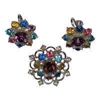 Signed Coro Multicolored Rhinestone Pin and Screwback Earrings