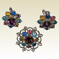 Signed Coro Multicolored Rhinestone Pin and Screwback Earrings