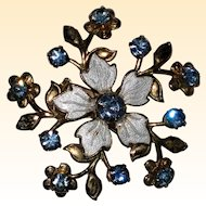Floral Pin with Guilloche Enamel and Light Blue Rhinestones - 1950's