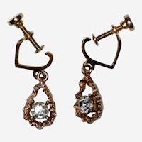 "1950's Gold Tone and Clear Rhinestone Drop Earrings - ""Pierced Look"""