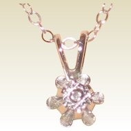 "Petite Dicini 0.23 Carat Diamond Pendant with 14K White Gold Setting and 16"" Chain - Original Box"