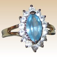 Imitation Marquis Blue Topaz or Aquamarine Ring in Gold-tone Setting with Imitation Diamonds - Size 8