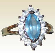 Imitation Marquis Blue Topaz or Aquamarine Ring in Gold-tone Setting with Imitation Diamonds - Size 8