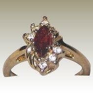 Imitation Ruby Ring in Gold-tone Setting with Imitation Diamonds - Size 8