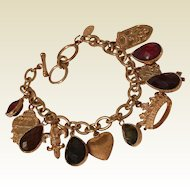 Retired Cookie Lee Toggle Charm Bracelet with Heart, Crown and Jewel-tone Drops