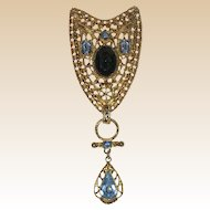 """Large """"Victorian Revival"""" Crest Pin with Blue Glass Stones"""