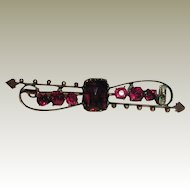 Victorian Rhodolite Garnet Brooch in 12K Gold Filled Setting