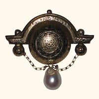 Victorian Classic Revival 15K Gold Plated Brooch with Pearl Drop - Engraved 1869