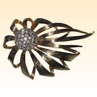 Dramatic Gold-tone Pin with Rhinestone Center