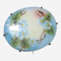 Victorian Hand Painted Porcelain Pin with Light Blue Forget-me-Nots
