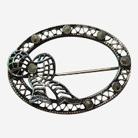Sterling Silver Filigree Bow Pin with Marcasites