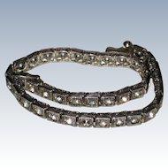 Sterling Art Deco Diamonbar Flexible Bracelet with Brilliants