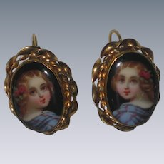 Hand Painted Victorian Porcelain Portrait Earrings in Rolled-Gold Setting