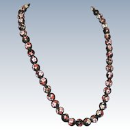 """27"""" Black Cloisonne Necklace with Pink Flowers and Enameled Class"""