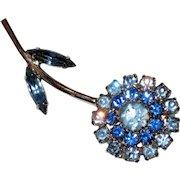 Flower Pin with Prong Set Blue Rhinestones - Circa 1950