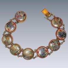 "Japanese Hand Painted Satsuma Porcelain Bracelet - Circa 1915 - 8"""