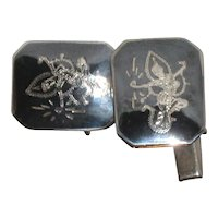 Thai Niello Sterling Silver Cufflinks with Goddess Mekhala