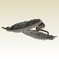 Jewel Art Sterling Feather Earrings - Srewback