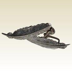 Jewel Art Sterling Feather Earrings - Srewback