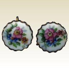 1940's Floral Porcelain Screw-back Earrings
