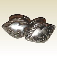 Embossed Silver-tone Cuff Links - Circa 1900