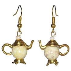 Teapot Earrings with Riverstone Jasper Gemstone Beads
