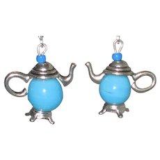 Aqua Blue Teapot Earrings
