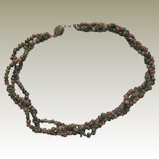 Polished Unakite Torsade Necklace with Gemstone Clasp