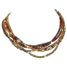 Five Strand Amber Colored Glass Bead Necklace