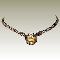 1980's Carolee Faux Ancient Roman Coin Necklace