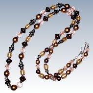 "1970's Liz Claiborne Beaded Flapper Necklace - 32"""