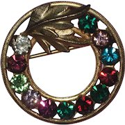 14K Gold Filled Multicolored Rhinestone Wreath Pin