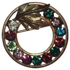 14K Gold Filled Multicolored Rhinestone Wreath Pin