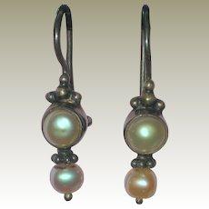 Cultured Pearl Drop Earrings in Sterling Silver Setting