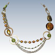 Artistic Asymmetrical Necklace with Dichroic Glass