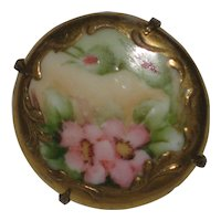 Hand Painted Victorian Porcelain Brooch with Pink Roses
