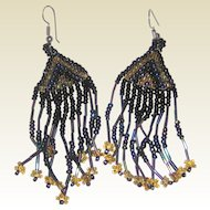 Beaded Fringe Earrings in Iridescent Blue